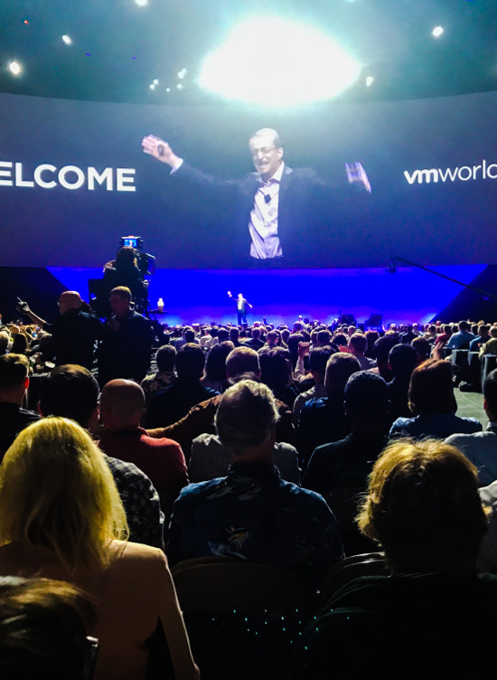 VMWare CEO Pat Gelsinger welcomes the crowd to its conference in Barcelona last year.